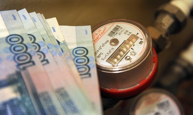 коммунальный счетчик купюры рублей деньги